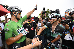 July 20, 2018 - Valence, France - VALENCE, FRANCE - JULY 20 : SAGAN Peter (SVK) of Bora - Hansgrohe, BURGHARDT Marcus (GER) of Bora - Hansgrohe during stage 13 of the 105th edition of the 2018 Tour de France cycling race, a stage of 169.5 kms between Bourg d'Oisans and Valence on July 20, 2018 in Valence, France, 20/07/2018 (Credit Image: © Panoramic via ZUMA Press)