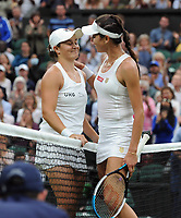 Lawn Tennis - 2021 All England Championships - Week Two - Tuesday - Wimbledon<br /> Ladies - Ashley Barty v Ajia Tomljanovic<br /> <br /> Ashley Barty is congratulated by fellow Australian Ajia Tomljanovic at the net after the net<br /> <br /> <br /> Credit : COLORSPORT/Andrew Cowie
