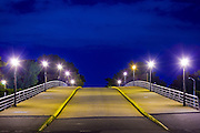 New York City: Flushing Meadows Park, Queens. bridge at sunset
