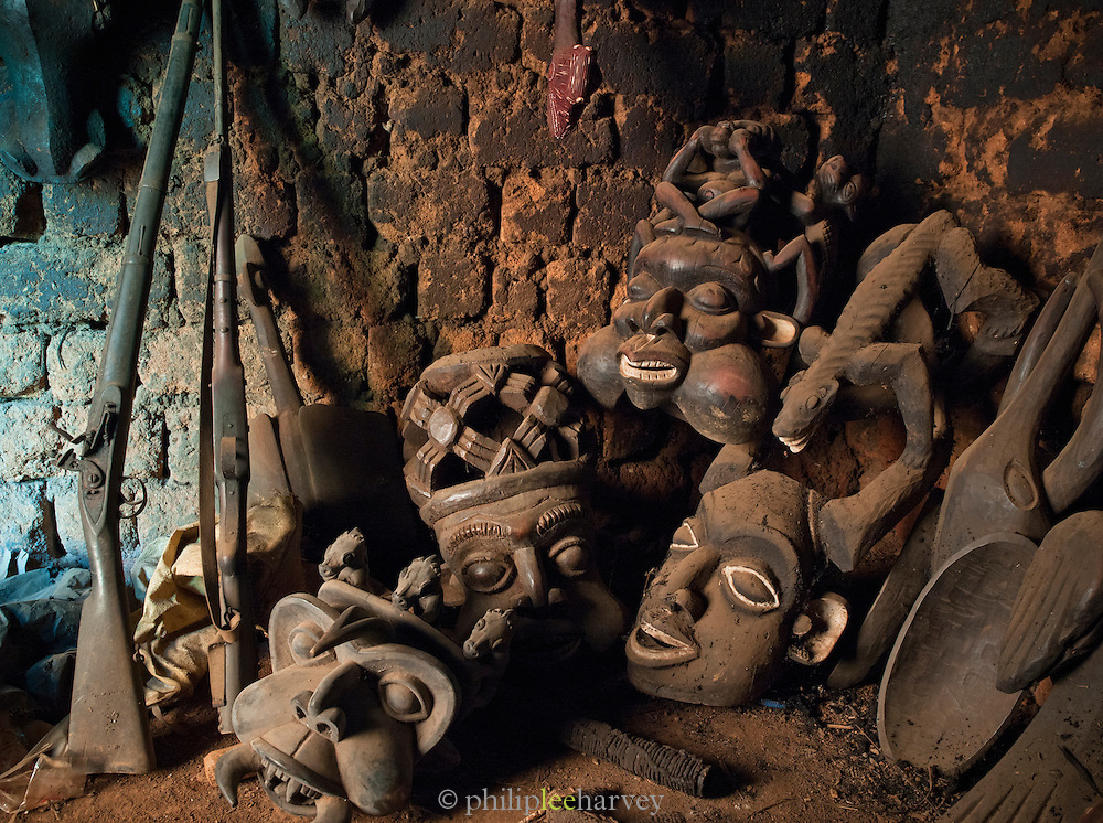 A wood carvers workshop in Oku, in the north west of Cameroon