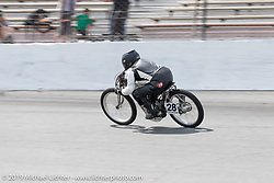 Shelly Rossmeyer-Pepe racing her 1915 Harley-Davidson 1000cc racer that was built by Billy Lane at the Sons of Speed Vintage Motorcycle Races at New Smyrina Speedway. New Smyrna Beach, USA. Saturday, March 9, 2019. Photography ©2019 Michael Lichter.