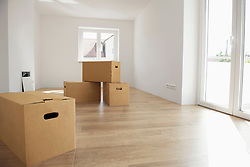 Empty room wooden floor new apartment boxes