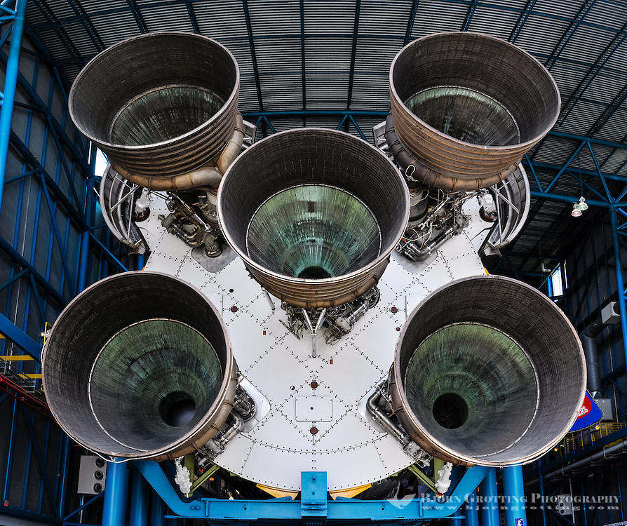 US, Florida. US, Florida. John F. Kennedy Space Center. F-1 engines on a Saturn V at the Apollo/Saturn V Center. Stitched panorama.
