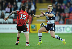 Bristol Rugby's Charlie Amesbury closes down Jersey Rugby's Aaron Penberthy - Photo mandatory by-line: Dougie Allward/JMP - Mobile: 07966 386802 - 17/04/2015 - SPORT - Rugby - Bristol - Ashton Gate - Bristol Rugby v Jersey - Greene King IPA Championship