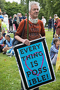 An environmental activist from Extinction Rebellion prepares to take part in a Stop The Harm march during the fourth day of Impossible Rebellion protests on 26th August 2021 in London, United Kingdom. Extinction Rebellion are calling on the UK government to cease all new fossil fuel investment with immediate effect.