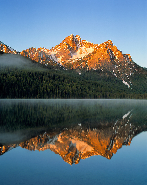 Stanley Lake reflects the Sawtooth Range in the Sawtooth NRA, Idaho.
