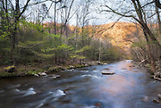 Little River, Great Smoky Mountains NP, Tennessee.   The main branch of the Little River flows through the tighly stacked mountains of the Smokies, pure and clear on it's way between Sugarland and Elkmont.  I am always drawn upstream, against the flow, it seems. Working against gravity.  Spring gives me strength, wakes me up, and along the river the forest, too, seemed to be waking before my eyes.  The river took on the glow of the sunset lighting the hills and my eyes followed that color as far as the converging banks would let them, upstream, where I am destined to go.