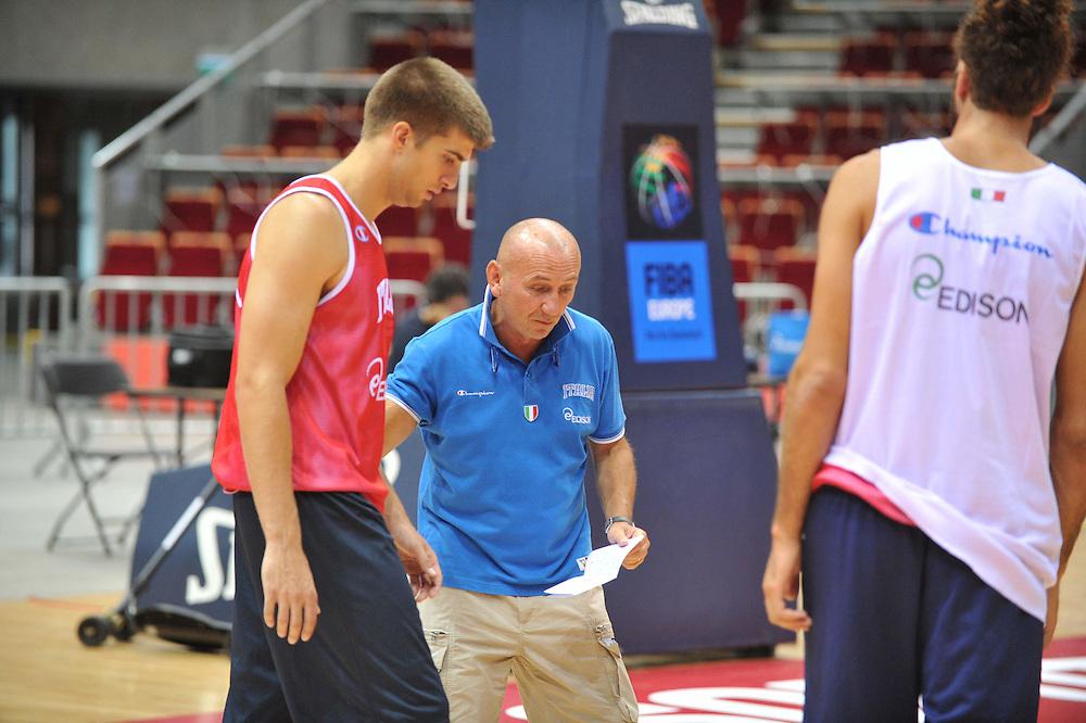 Danzica - Polonia 03 Agosto 2012 - Nazionale Italia Maschile Allenamento - <br /> Nella Foto : JEFF VIGGIANO LUCA DALMONTE<br /> Foto Ciamillo