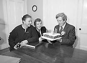 Garret Fitzgerald Birthday.1982.09.02.1982..02.09.1982..9th February 1982.Garret Fitzgerald celebrates his 56th birthday.Photograph of Garret ,his wife Joan and son, Mark as they take time to clebrate his birthday at their Palmerstown home, during an election campaign.    .