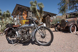Ryan Allen's 1916 Indian at the Hackberry General Store on historic Route 66 in Kingman, Arizona during the Motorcycle Cannonball Race of the Century. Stage-13 ride from Williams, AZ to Lake Havasu CIty, AZ. USA. Friday September 23, 2016. Photography ©2016 Michael Lichter.