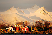 Fishing village Kosnes with Vesteralen and Lofoten mountains