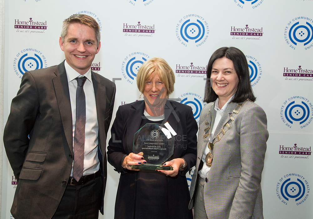 23.05.2018.       <br /> Today, the Institute of Community Health Nursing (ICHN) hosted its2018 community nurseawards in association withHome Instead Senior Care,at its annual nursing conference, in the Strand Hotel Limerick, rewarding public health nurses for their dedication to community care across the country. <br /> <br /> Pictured are, Paraic Curtis, Owner and Managing Director of Home Instead Senior Care Rathcoole, Dublin with ICHN President Anne Lynott (right) presenting Mary McDermott, DPHN CHO 9, Dublin, with her Lifetime Achievement Award. Mary McDermott, the Director of Public Health Nursing in North Dublin, has had a distinguished nursing career both within the community setting and abroad spanning decades. From her early stages as an RGN, a midwife, and a young nurse who travelled abroad to work in Africa she has been dedicated to learning and honing her craft, helping patients through life changing moments from giving birth and recovery from illness. Throughout her career Mary has been a huge support and advocate for the ICHN and has been actively involved over the years. Education and career development is something Mary has proven is important to her, through her actions and her encouragement of staff to progress within their careers.  Picture: Alan Place