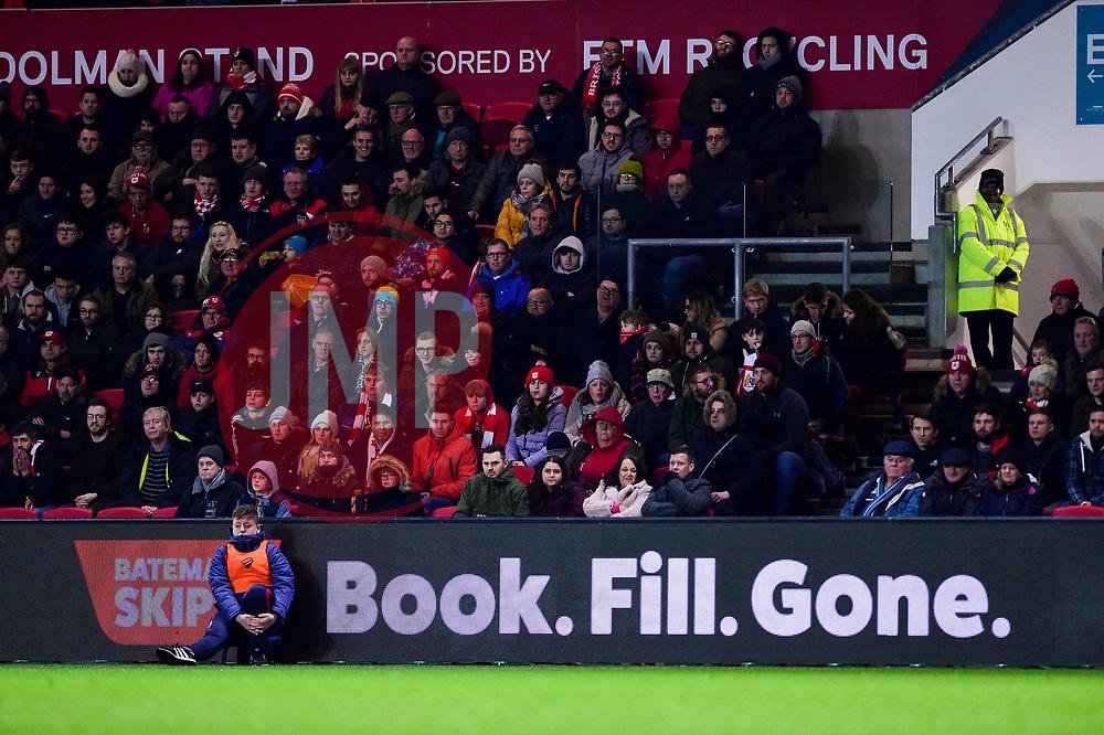 Bateman Skips advert - Mandatory by-line: Ryan Hiscott/JMP - 25/01/2019 - FOOTBALL - Ashton Gate Stadium - Bristol, England - Bristol City v Bolton Wanderers - Emirates FA Cup fourth round
