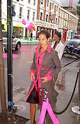 Jade Jagger arriving, Diane von Furstenberg<br /> shop opening, Ledbury Rd. 21 September 2003. © Copyright Photograph by Dafydd Jones 66 Stockwell Park Rd. London SW9 0DA Tel 020 7733 0108 www.dafjones.com
