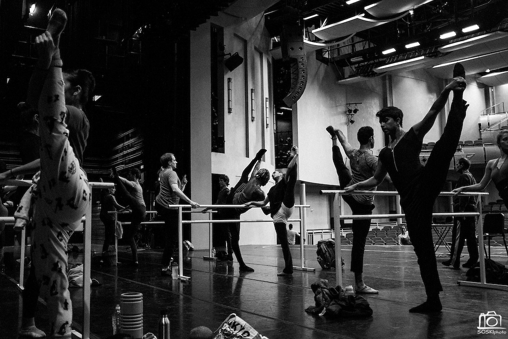 Company dancers take class with Bay Pointe Ballet Artistic Director Bruce Steivel before performing Bruce Steivel's Dracula at San Mateo Performing Arts Center in San Mateo, California, on October 30, 2015. (Stan Olszewski/SOSKIphoto)