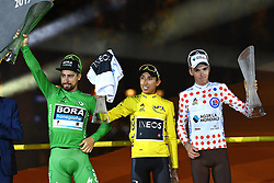 July 28, 2019, Paris, France: Slovakian Peter Sagan of Bora-Hansgrohe wearing the green jersey, Colombian Egan Bernal of Team Ineos wearing the yellow jersey and French Romain Bardet of AG2R La Mondiale wearing the red polka-dot jersey celebrate on the podium of the final stage of the 106th edition of the Tour de France cycling race, from Rambouillet to Paris Champs-Elysees (128km), France, Sunday 28 July 2019. This year's Tour de France starts in Brussels and takes place from July 6th to July 28th. (Credit Image: © David Stockman/Belga via ZUMA Press)
