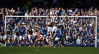 Burnley defend a free kick from Everton's Leighton Baines<br /> <br /> Photographer Stephen White/CameraSport<br /> <br /> Football - Barclays Premiership - Everton v Burnley - Saturday 18th April 2015 - Goodison Park - Everton<br /> <br /> © CameraSport - 43 Linden Ave. Countesthorpe. Leicester. England. LE8 5PG - Tel: +44 (0) 116 277 4147 - admin@camerasport.com - www.camerasport.com
