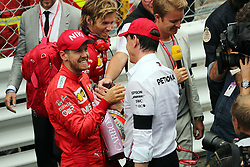 May 26, 2019 - Monte Carlo, Monaco - xa9; Photo4 / LaPresse.26/05/2019 Monte Carlo, Monaco.Sport .Grand Prix Formula One Monaco 2019.In the pic: Sebastian Vettel (GER) Scuderia Ferrari SF90 and Toto Wolff (GER) Mercedes AMG F1 Shareholder and Executive Director (Credit Image: © Photo4/Lapresse via ZUMA Press)