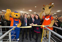 Michael Matheson MSP for Falkirk, UK Managing Director, Chris Mottershead and Director of Retail and Customer Experience, Kathryn Darbandi at the official opening of the Thomas Cook holiday contact centre at Central Park, Larbert