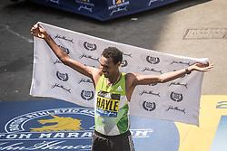 Boston Marathon Lemi Berhane Hayle celebrates his win