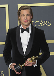 February 9, 2020, Hollywood, California, USA: Brad Pitt wins the Oscar for Best Supporting Actor 'Once Upon a Time in Hollywood' in the press room of the 92nd Academy Awards on Sunday February 9, 2020 at the Dolby Theater in Hollywood, California. BURT HARRIS/BNS/PI (Credit Image: © Prensa Internacional via ZUMA Wire)