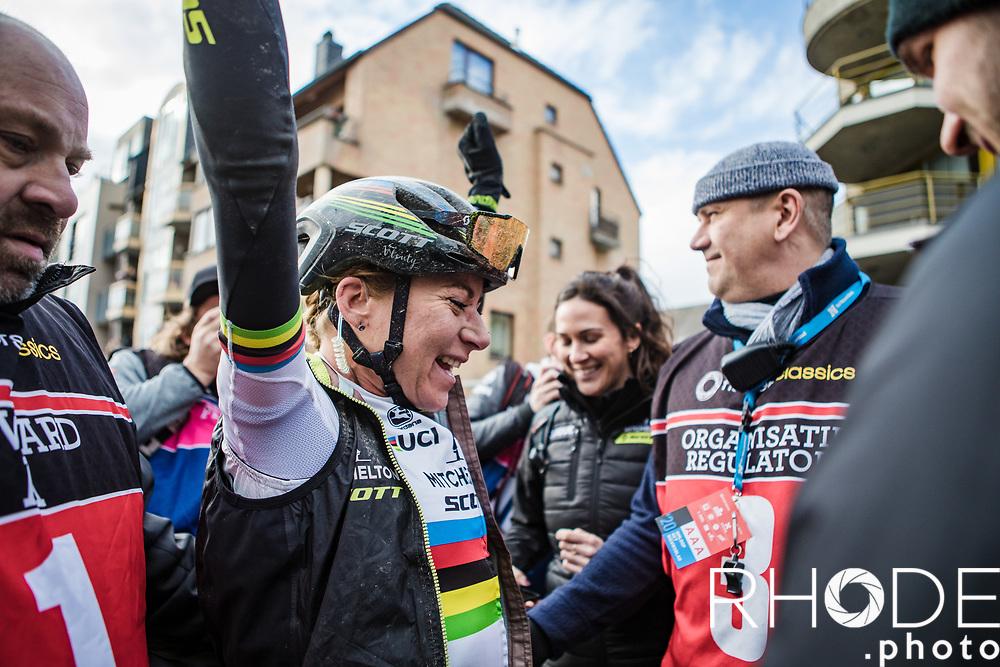 World Champion Annemiek Van Vleuten (NED/Mitchelton Scott) finishes solo and wins the 75th Omloop Het Nieuwsblad 2020 (BEL)<br /> Women's Elite Race <br /> Gent – Ninove: 123km<br /> <br /> ©kramon