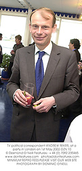 TV political correspondent ANDREW MARR, at a party in London on 1st May 2002.OZN 10