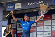 Stage winner, Yves Lampaert of Deceuninck - Quick Step on the podium after the the AJ Bell Tour of Britain 2021, stage 7 between Hawick and Edinburgh, Scotland on 11 September 2021.