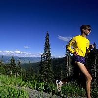 Jay Hass running beside near Teton Pass near Jackson, WY. (MR)