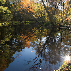 The Ipswich River in fall in Middleton, Massachusetts.  (Squash Field)