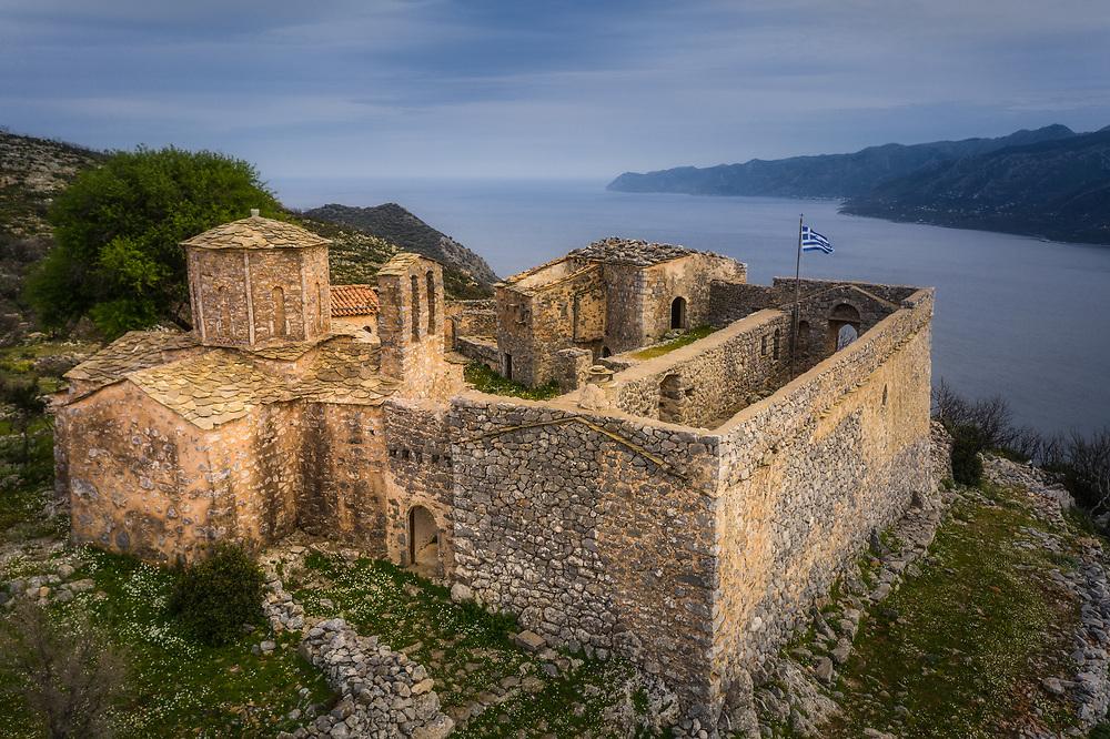 Moni Sotiros chursh and fortress at mani peninsula near Kotronas, Greece