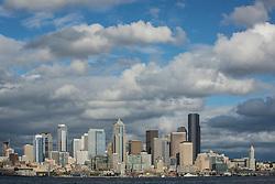 United States, Washington, Seattle. Skyline from Elliott Bay.