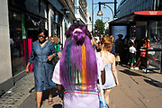 Rainbow dyed hair in London, England, United Kingdom.