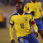 Walter Ayovi, Ecuador, in action during the Argentina Vs Ecuador International friendly football match at MetLife Stadium, New Jersey. USA. 31st march 2015. Photo Tim Clayton