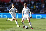 Stephen Kingsley of Swansea city in action.Premier league match, Swansea city v Stoke City at the Liberty Stadium in Swansea, South Wales on Saturday 22nd April 2017.<br /> pic by Andrew Orchard, Andrew Orchard sports photography.