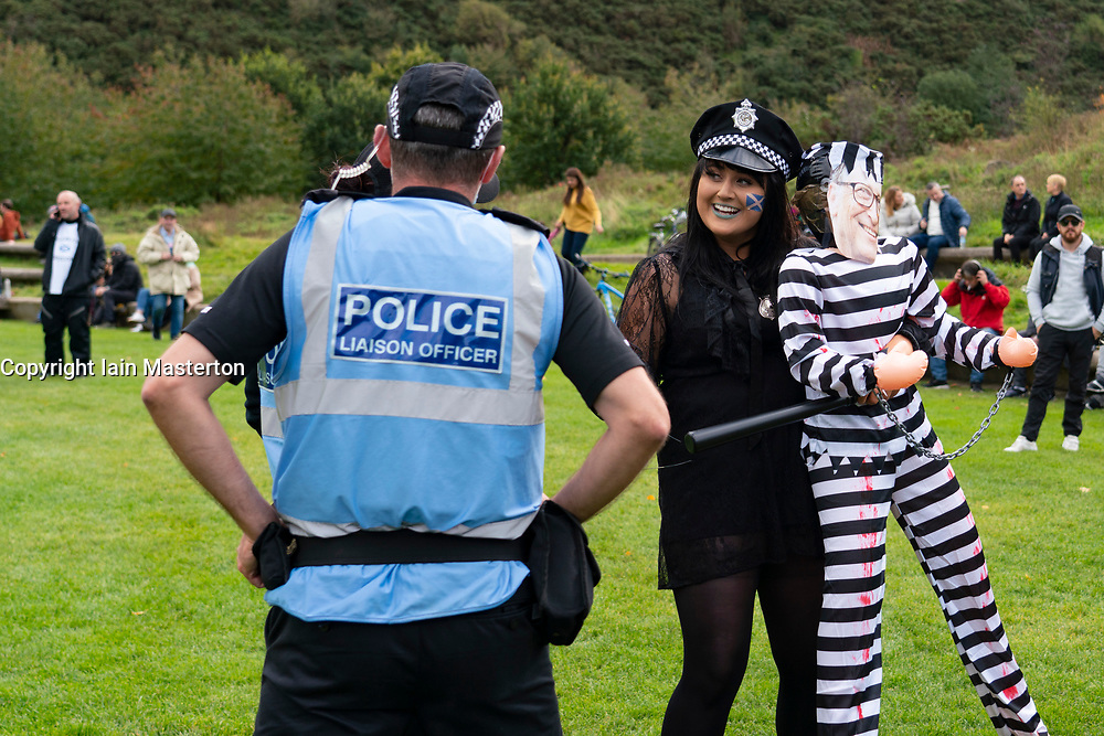 Edinburgh, Scotland, UK. 10 October 2020. Anti-lockdown, anti-vaccination anti-facemask demonstration by conspiracy theorists at Scottish Parliament building at Holyrood in Edinburgh today.  Iain Masterton/Alamy Live News