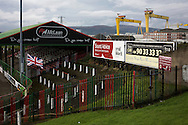 A view across the ground with the distinctive Harland and Wolfe ship cranes in the background at The Oval, Belfast, pictured before Glentoran hosted city-rivals Cliftonville in an NIFL Premiership match. Glentoran, formed in 1892, have been based at The Oval since their formation and are historically one of Northern Ireland's 'big two' football clubs. They had an unprecendentally bad start to the 2016-17 league campaign, but came from behind to win this fixture 2-1, watched by a crowd of 1872.