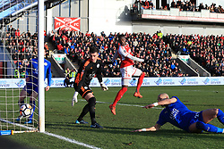 6th January 2018 - FA Cup - 3rd Round - Fleetwood Town v Leicester City - Devante Cole of Fleetwood heads just wide - Photo: Simon Stacpoole / Offside.