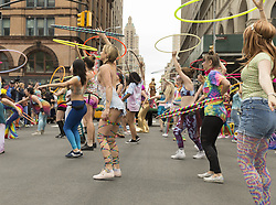 May 20, 2017 - New York, New York, United States - The Hoop Movement group dancers dances during 2017 dance parade on streets of New York. (Credit Image: © Lev Radin/Pacific Press via ZUMA Wire)