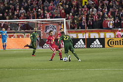March 10, 2018 - Harrison, New Jersey, United States - Dairon Asprilla (27) of Portland Timbers controls ball during regular MLS game against New York Red Bulls at Red Bull Arena Red Bulls won 4 - 0 (Credit Image: © Lev Radin/Pacific Press via ZUMA Wire)