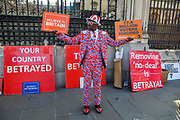 March 29, 2019 - GBR - A leave protestor wearing Union flag trousers outside Westminster in London Friday, March 29, 2019, as MPs are expected to consider and vote on a Government motion on the EU withdrawal on Friday evening. (Credit Image: © Vedat Xhymshiti/ZUMA Wire)