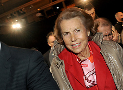 File photo - French heiress of the L'Oreal cosmetics empire Liliane Bettencourt attending the Franck Sorbier Fashion Show Spring/Summer 2011 Collection Launch held at Sotheby's, on January 26, 2011 in Paris, France. Liliane Bettencourt has died aged 94 it was announced on September 21, 2017. Bettencourt was the richest person in France and the third-richest woman in the world with a net worth of $40 billion. She was the sole heir to L'Oreal, the largest cosmetics company in the world, which was started by her father, and a large shareholder in Nestle. Nearly a decade ago a trial forced Liliane's personal business into the public light, laid bare her obsession with a flashy homosexual photographer whom she turned into a billionaire, destroyed her relationship with her daughter, turned a long time family butler against her, and, finally, turned the dowager heiress into even more of a recluse than she had been before. Photo by Christophe Guibbaud/ABACAPRESS.COM
