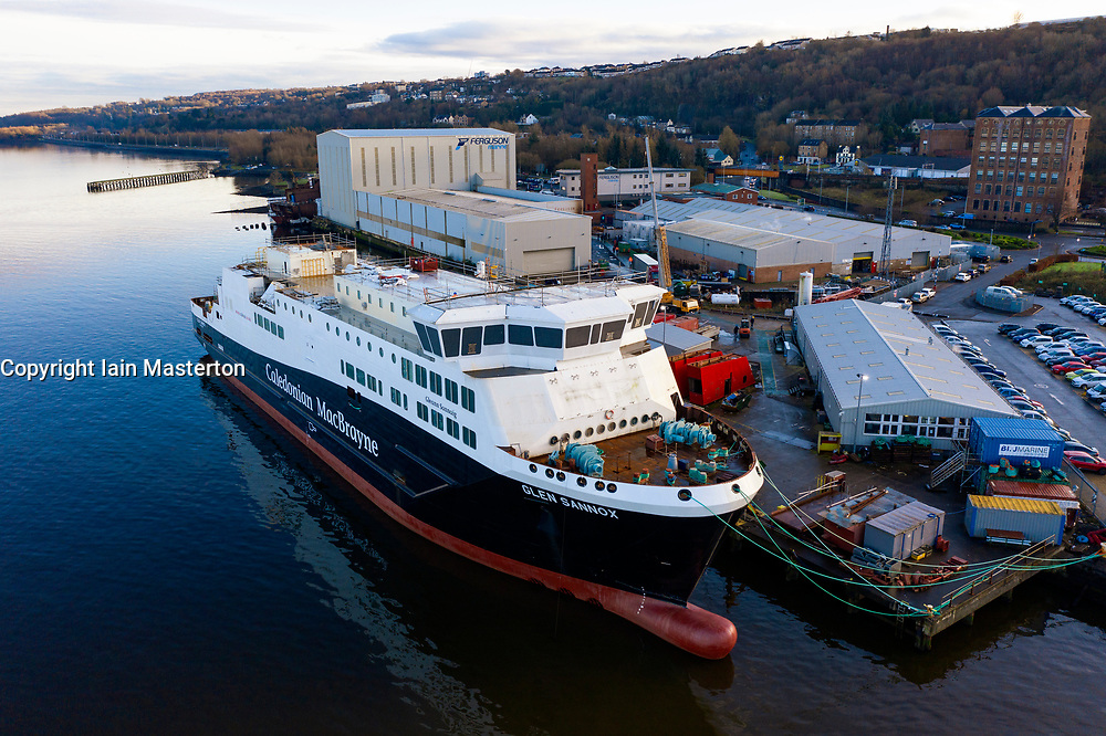 Port Glasgow, Scotland, UK. 7 December 2020. Aerial view of CalMac ferry Glen Sannox under fabrication at Ferguson Marine shipyard in Port Glasgow. The over-budget and overdue project to deliver two ferries to Caledonian MacBrayne will come under scrutiny on Thursday when an independent report into the project will be published. Iain Masterton/Alamy Live News