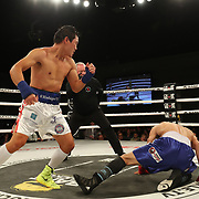 FORT LAUDERDALE, FL - FEBRUARY 15: Dat Nguyen (L) knocks down Abdiel Velazquez during the Bare Knuckle Fighting Championships at Greater Fort Lauderdale Convention Center on February 15, 2020 in Fort Lauderdale, Florida. (Photo by Alex Menendez/Getty Images) *** Local Caption *** Dat Nguyen; Abdiel Velazquez