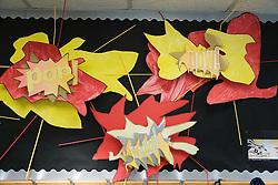 Art display in corridor at special school,