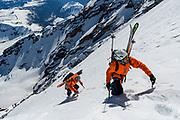 Zahan Billimoria and Ben Hoiness iclimbing Liberty Ridge on Mt Rainier,  WA.