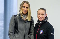 Polona Hercog and Tina Pisnik during press conference of Team Slovenia before playing in Zone Group 1 of Fed Cup tournament in Budapest on January 29, 2014 in BTC City, Ljubljana, Slovenia. Photo by Vid Ponikvar / Sportida