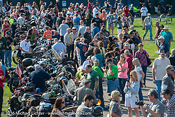 Celebration after the finish at the Lemay Museum during Stage 16 (142 miles) of the Motorcycle Cannonball Cross-Country Endurance Run, which on this day ran from Yakima to Tacoma, WA, USA. Sunday, September 21, 2014.  Photography ©2014 Michael Lichter.