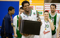 MVP Deon Marshall Thompson of Olimpija celebrates after winning the basketball match between KK Union Olimpija Ljubljana and KK Krka Novo mesto of finals of 11th Slovenian Spar Cup 2012, on February 19, 2012 in Sports hall Brezice,  Brezice, Slovenia. Union Olimpija defeated Krka 68-63 and became Slovenian Cup Champion 2012. (Photo By Vid Ponikvar / Sportida.com)