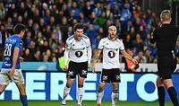 Fotball Menn Eliteserien Rosenborg-Molde<br /> Lerkendal Stadion, Trondheim<br /> 8 april 2018<br /> <br /> Tore Reginiussen (H) får annulert sin scoring som kunne gitt Rosenborg 3-0 og Pål Andre Helland (midten) er meget sint på dommer Kai Erik Steen<br /> <br /> <br /> <br /> <br /> Foto : Arve Johnsen, Digitalsport